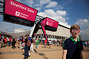 London, UK. Thursday 9th August 2012. Stratford Gate entrance / exit to the London 2012 Olympic Games Park in Stratford.