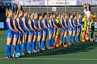 AMSTELVEEN - line-up Nederlands team,  tijdens dames hockeywedstrijd , Spanje-Nederland  (1-7),  bij het EK hockey. Euro Hockey 2021.   COPYRIGHT KOEN SUYK