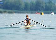 Banyoles, SPAIN. Men's Single Sculls, 1992 Olympic Regatta, EST M1X Juri JANSSON, <br /> Wednesday  19/02/2014  [Mandatory Credit: Peter Spurrier/Intersport<br /> Images]