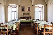 ITALY, Franciacorta area, Roveto, Monte Orfano, Convento dell'Annunciata. the refettorino, lunch and dinner room