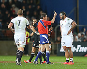 David Wilson of England gets a yellow card during the third rugby test between the All Blacks and England played at Waikato Stadium in Hamilton during the Steinlager Series - All Blacks v England, Hamiton, 21 June 2014<br /> www.photosport.co.nz