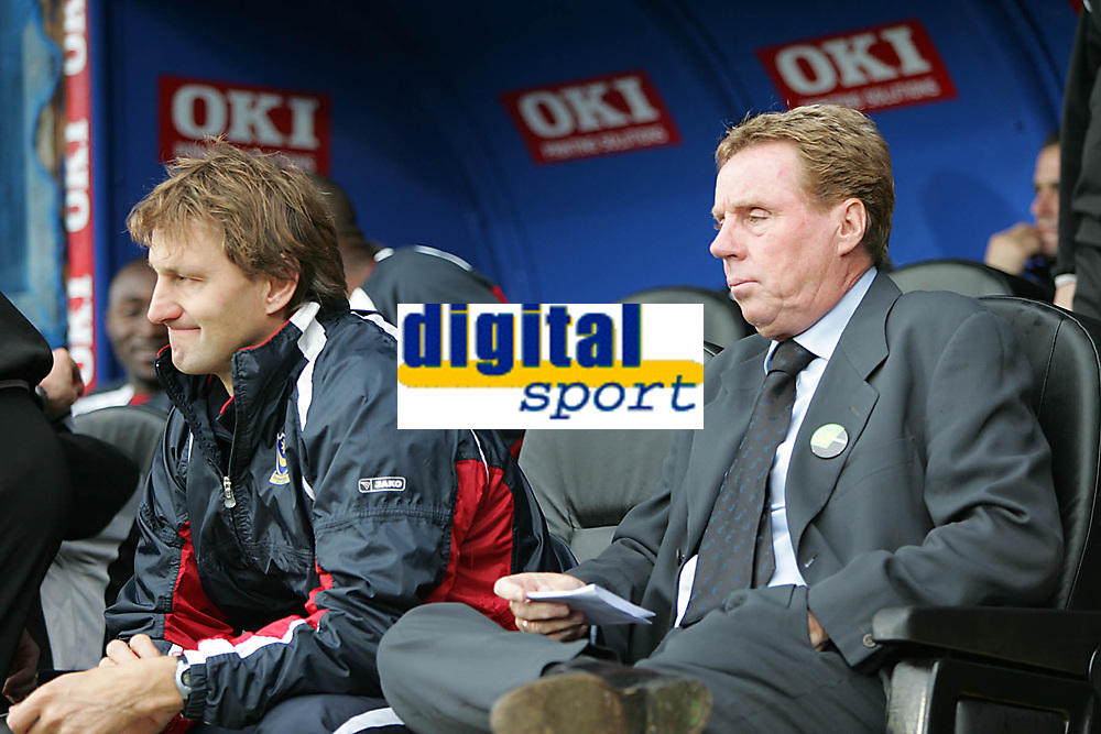 Photo: Lee Earle.<br /> Portsmouth v Reading. The Barclays Premiership. 28/10/2006. Portsmouth manager Harry Redknapp (R) with assistaint Tony Adams.