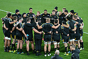 Hurricanes coach Chris Boyd seen speaking to his team in a huddle during the Super Rugby match between Hurricanes vs Blues, Westpac Stadium, Wellington, Saturday 07th July 2018. Copyright Photo: Raghavan Venugopal / © www.Photosport.nz 2018