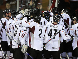 Latvia celebrates at ice-hockey match Slovenia vs Latvia at Preliminary Round (group B) of IIHF WC 2008 in Halifax, on May 06, 2008 in Metro Center, Halifax, Nova Scotia, Canada. Latvia won 3:0. (Photo by Vid Ponikvar / Sportal Images)Slovenia played in old replika jerseys from the year 1966, when Yugoslavia hosted the World Championship in Ljubljana.