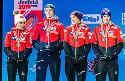 02.03.2019, Seefeld, AUT, FIS Weltmeisterschaften Ski Nordisch, Seefeld 2019, Siegerehrung, im Bild Silbermedaillengewinner Eva Pinkelnig (AUT), Philipp Aschenwald (AUT), Daniela Iraschko-Stolz (AUT), Stefan Kraft (AUT) // Silver medalist Eva Pinkelnig Philipp Aschenwald Daniela Iraschko-Stolz Stefan Kraft of Austria during the winner Ceremony for the FIS Nordic Ski World Championships 2019. Seefeld, Austria on 2019/03/02. EXPA Pictures © 2019, PhotoCredit: EXPA/ Stefan Adelsberger