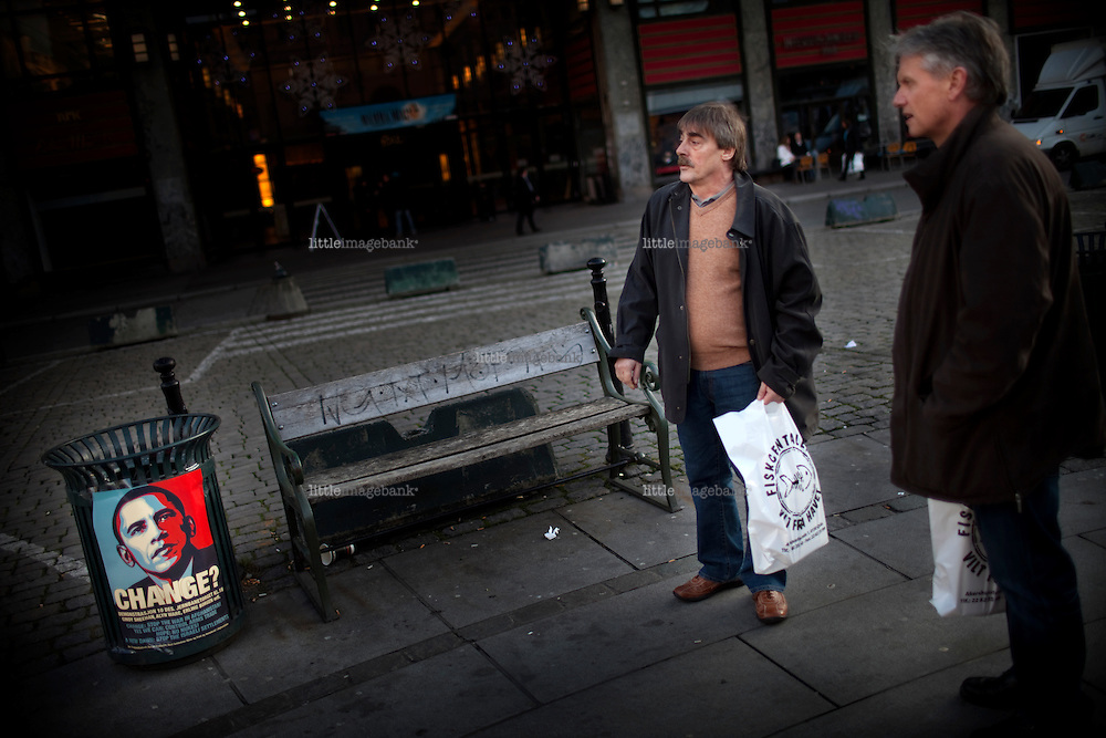 A campaign poster against Obama and the desicion of the Nobel comitee is seen in central Oslo prior to the US presidents arrival december 10th. Oslo. 27.11.09, Photo: Christopher Olssøn.