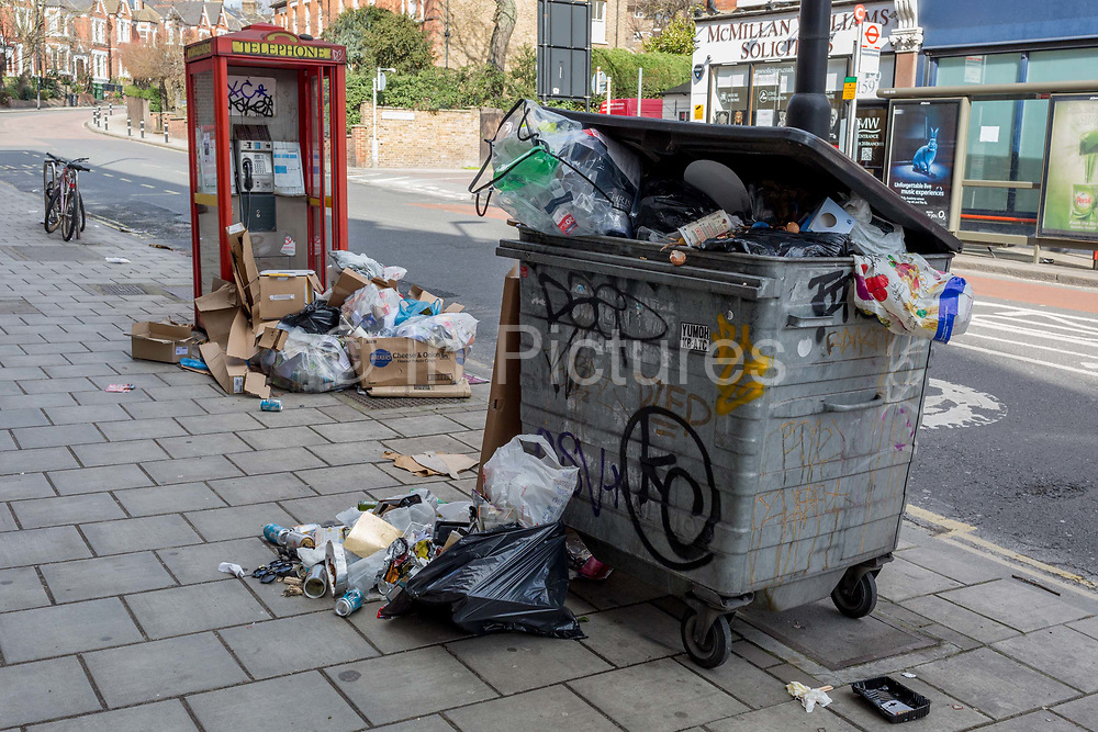 Controversial local issue of discarded rubbish and fly-tipped litter on the street, on 7th March 2017, in Herne Hill, SE24, London borough of Lambeth, England.