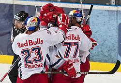 """31.02.2012, VOLKSGARTEN EISARENA, SALZBURG, AUT, EC RED BULL SALZBURG vs KHL MEDVESCAK ZAGREB, IM BILD Torjubel Salzburg nach der 3 zu 2 Führung // Celebration Salzburg after the 3 to 2 lead DURING THE """"ERSTE BANK ICEHOCKEY LEAGUE"""" GAME BETWEEN EC RED BULL SALZBURG AND KHL MEDVESCAK ZAGREB AT THE VOLKSGARTEN ICEARENA, SALZBURG, AUSTRIA, 2012/01/31. EXPA Pictures © 2012, PhotoCredit: EXPA/ Juergen Feichter"""