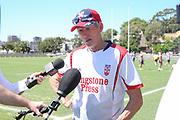 Wayne Bennett talks to the media after training. England Rugby League Team training at Redfern Oval, Sydney, Australia. 30 October 2017. Copyright Image: David Neilson / www.photosport.nz