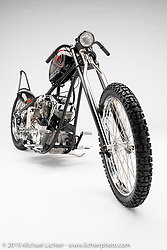 Chase N It, a custom motorcycle built from a 1981 Shovelhead, by David Rosen. Photographed by Michael Lichter in Charlotte, SC, USA on 1/24/19. ©2019 Michael Lichter.