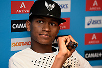 Mutaz Essa Barshim of Qatar answers questions during the Press Conference of the Diamond league, Meeting Areva 2015, at Mercure Paris Centre Eiffel, Paris, France, on July 3, 2015 - Photo Jean-Marie Hervio / KMSP / DPPI