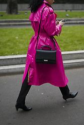 January 15, 2018 - Milan, Italy - Caroline Issa wearing pink belted coat is seen outside Armani during Milan Men's Fashion Week Fall/Winter 2018/19 on January 15, 2018 in Milan, Italy. (Credit Image: © Nataliya Petrova/NurPhoto via ZUMA Press)