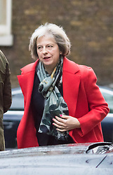 Downing Street, London, November 24th 2015. Home Secretary Theresa May arrives at Downing Street for the weekly cabinet meeting. ///FOR LICENCING CONTACT: paul@pauldaveycreative.co.uk TEL:+44 (0) 7966 016 296 or +44 (0) 20 8969 6875. ©2015 Paul R Davey. All rights reserved.