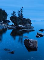Twilight blue on a calm Lake Champlain evening, Rock Point, Vermont