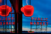 Neon sign near Pike Place market in Seattle
