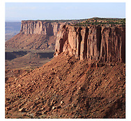 A heavily eroded landscape as seen from The Orange Cliffs Overlook At Canyonlands National Park, Utah, USA