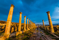 The South Decumanus at Jerash once served as the Roman town's main east–west axis. Greco-Roman Ruins, Jerash, Jordan.