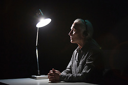 "© Licensed to London News Pictures. 05/06/2015. London, UK. Irish theatre artist Olwen Fouéré performs a reading of Samuel Beckett's evocative short prose text ""Lessness"", simply staged in an intimate setting. Part of the 2015 International Beckett Season at the Barbican Centre. Concept, staging and design by Olwen Fouéré, Kellie Hughes and Sarah Jane Sheils. Performances take place at the Frobisher Auditorium 2 from 5 to 8 June 2015. Photo credit : Bettina Strenske/LNP"