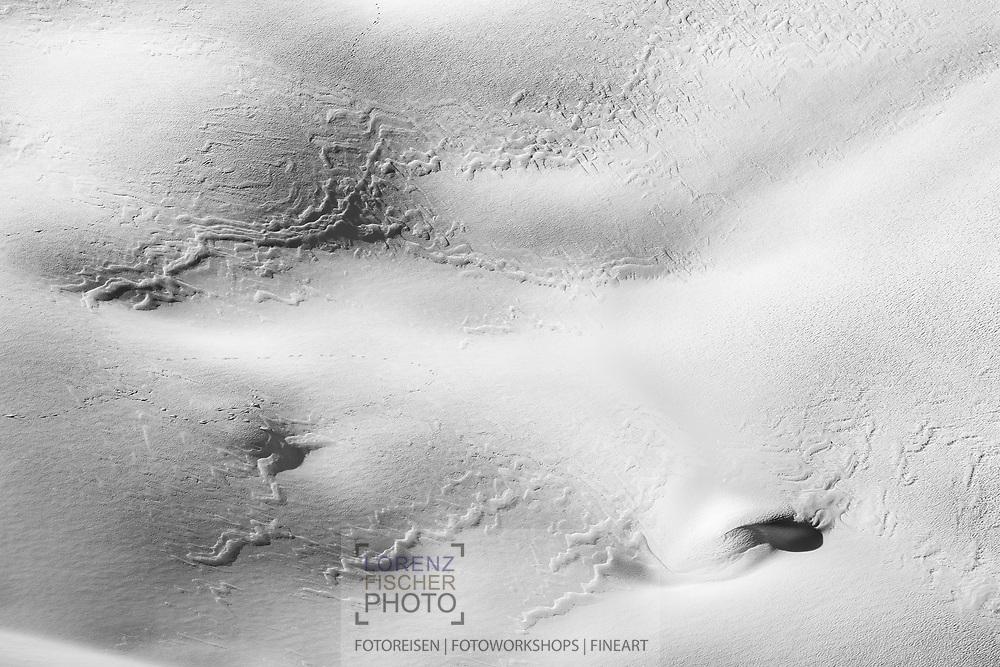 Snowdrift on the slopes of the upper Bisistal, Muotatal, Schwyz, Switzerland
