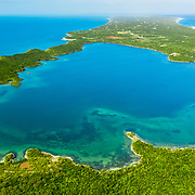 An aerial view of an inland alkaline pond on Eleuthera Island, Bahamas.