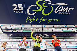 Second placed Rigoberto Uran of Team EF Education Cannondale, winner Primoz Roglic of Team Lotto NL Jumbo, Sonja Gola of Adria Mobil and third placed Matej Mohoric of Bahrain Merida in Overall classification celebrate during trophy ceremony after the 5th Time Trial Stage of 25th Tour de Slovenie 2018 cycling race between Trebnje and Novo mesto (25,5 km), on June 17, 2018 in  Slovenia. Photo by Vid Ponikvar / Sportida