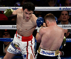 May 6, 2017. Las Vegas NV. (in Blue trunks) Canelo Alvarez goes 12 easy  rounds with Cesar Chavez Jr. Saturday at the T-Mobile arena. Canelo Alvarez took the win by  unanimous . .Photo by Gene Blevins/LA DailyNews/SCNG/Zuma Press (Credit Image: © Gene Blevins via ZUMA Wire)