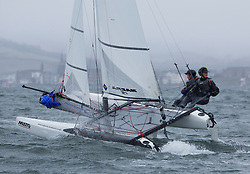 The RYA Youth National Championships 2018. Day 3<br /> <br /> 004, Theo Williams, Jasmine Williams, Restronguet Sailing Club, Nacra 15 Open <br /> <br /> Images: Marc Turner / RYA<br /> <br /> For further information contact:<br /> <br /> Richard Aspland, <br /> RYA Racing Communications Officer (on site)<br /> E: richard.aspland@rya.org.uk<br /> m: 07469 854599