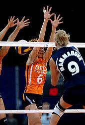 11-11-2007 VOLLEYBAL: PRE OKT: NEDERLAND - AZERBEIDZJAN: EINDHOVEN<br /> Nederland wint ook de de laatste wedstrijd. Azerbeidzjan verloor met 3-1 / Mirjam Orsel<br /> ©2007-WWW.FOTOHOOGENDOORN.NL