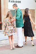King Felipe VI of Spain, Queen Letizia of Spain, Crown Princess Leonor arrive to National Inn on July 22, 2020 in Merida, Spain