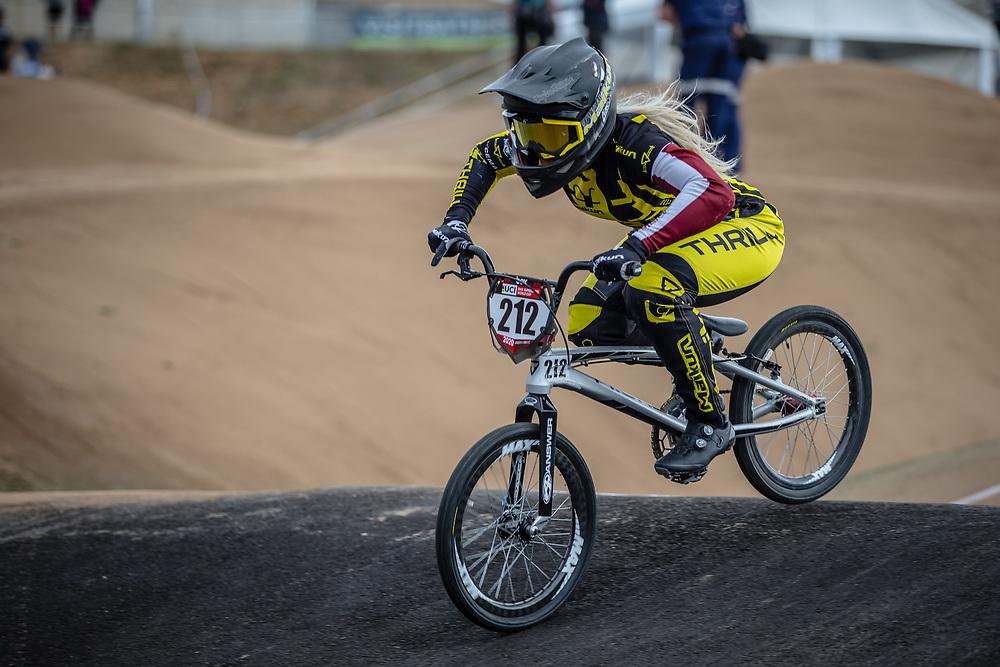 #212 (PETERSONE Vineta) LAT at Round 3 of the 2020 UCI BMX Supercross World Cup in Bathurst, Australia.