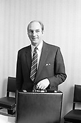 19th April 1972<br /> <br /> George Colley TD, Minister for Finance, Budget. Pictured in his office at the Finance Department. The Minister for Finance, Mr George Colley, is seen preparing his paperwork prior to giving his budget speech at Dail Eireann, Leinster House, Dublin.