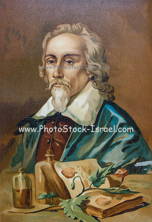 William Harvey [Guillermo Harvey] (1 April 1578 – 3 June 1657) was an English physician who made influential contributions in anatomy and physiology. He was the first known physician to describe completely, and in detail, the systemic circulation and properties of blood being pumped to the brain and the rest of the body by the heart, From the book La ciencia y sus hombres : vidas de los sabios ilustres desde la antigüedad hasta el siglo XIX T. 2  [Science and its men: lives of the illustrious sages from antiquity to the 19th century Vol 2] By by Figuier, Louis, (1819-1894); Casabó y Pagés, Pelegrín, n. 1831 Published in Barcelona by D. Jaime Seix, editor , 1879 (Imprenta de Baseda y Giró)