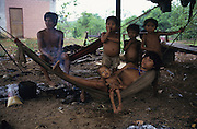 YANOMAMI INDIANS. South America, Brazil, Amazon. Family suffering Malaria, outside Molaca or Shabono traditional dwelling. Yanomami indians, a primitive tribe, living in the tropical rainforest, in communal traditional molaca dwellings. They are huntergatherers passing on their traditions and skills  from generation to generation. They are the guardians of their forest and its fragile ecosystem. Their lifestyle and their lands diminish every year in the face of encroaching deforestation, forest fires, campesinos who slash and burn primary rainforest, from cattle ranching, commercial plantations, gold and diamond mines.