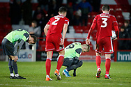 Disappointed  Wimbledon players  Shane McLoughlin and Joe Pigott at full time during the EFL Sky Bet League 1 match between Accrington Stanley and AFC Wimbledon at the Fraser Eagle Stadium, Accrington, England on 1 February 2020.