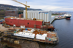 Port Glasgow, Scotland, UK. 7 February, 2020.  General views of Ferguson Marine shipyard at Port Glasgow. Scottish Budget announced an extra £49 million for the troubled nationalised shipyard on the River Clyde. Two ferries under construction at the yard for Caledonian MacBrayne are over budget and much delayed. An enquiry into the procurement process for the two ferries is currently ongoing at the Scottish Parliament at Holyrood in Edinburgh. Pic; the two troubled ferries under construction.  Iain Masterton/Alamy Live News.