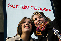 Pictured: Kezia Dugdale and the inevitable selfie<br /> <br /> Scottish Labour leader Kezia Dugdale today launched a new billboard poster for the final weekend of campaigning before the Scottish Parliament election on Thursday 5 May. She was joined by supporters and fellow candidates such as Sarah Boyack; Lesley Hinds and Daniel Johnston<br /> <br /> Ger Harley   EEm 30 April 2016