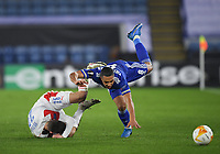 Football - 2020 / 2021 Europa League - Round of 32 - Second Leg - Leicester City vs Slavia Prague - King Power Stadium<br /> <br /> Leicester City's Youri Tielemans battles for possession with Slavia Prague's Jakub Hromada.<br /> <br /> COLORSPORT/ASHLEY WESTERN