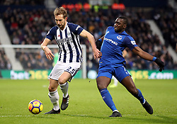 West Bromwich Albion's Craig Dawson (left) and Everton's Yannick Bolasie battle for the ball during the Premier League match at The Hawthorns, West Bromwich.