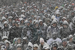PHILADELPHIA - DECEMBER 8: Fans sit in the stands and watch play as snow falls during a game between the Philadelphia Eagles and the Detroit Lions on December 8, 2013 at Lincoln Financial Field in Philadelphia, Pennsylvania. The Eagles won 34-20. (Photo by Hunter Martin/Philadelphia Eagles/Getty Images) *** Local Caption ***