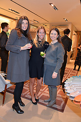 Left to right, FRANCESCA BRIGNONE, CAROLINA BONFIGLIO and ANNA KNAUF at a Valentine's Ladies breakfast hosted by Tod's and Carolina Bonfiglio at the Tod's boutique in New Bond Street, London on 10th February 2015.
