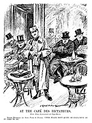 "At the Cafe des Dictateurs. Enter King Alexander of Yugo-slavia. Signor Mussolini (to Senior Primo de Rivero). ""This place isn't quite so exclusive as it used to be."" (an InterWar cartoon showing Kemal Ataturk, Mussolini, Jozef Pilsudski, Miguel Primo de Rivera, Reza Khan and Alexander I of Yugoslavia at the Grand Cafe Des Dictateurs)"