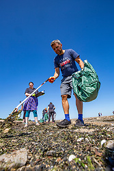 15JUL21 Matt with Catherine Gemmell. The Marine Conservation Society launching it's big beach clean up volunteer call at Cramond beach this morning.