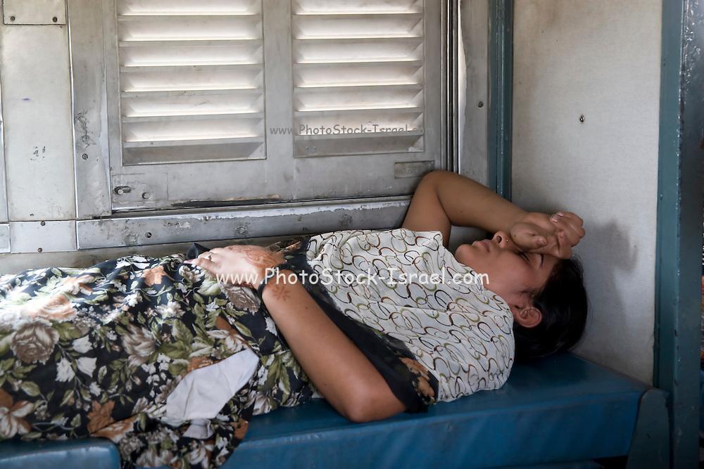 India, Uttar Pradesh, Agra, The Agra Fort Train Station A sleeper class coach