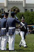 Graduating senior cadets salute underclassmen during the Long Grey Line graduation parade May 8, 2009 at the Citadel in Charleston, SC. This graduating marks the 10-year anniversary of the first female to graduate from The Citadel, Nancy Mace.  The Citadel was founded in 1842.