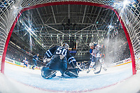 PENTICTON, CANADA - SEPTEMBER 9: Ethan Bear #74 of Edmonton Oilers tries to put the puck past Jamie Phillips #50 of Winnipeg Jets on September 9, 2017 at the South Okanagan Event Centre in Penticton, British Columbia, Canada.  (Photo by Marissa Baecker/Shoot the Breeze)  *** Local Caption ***