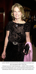 LADY MARY-GAYE SHAW at a party in London on 4th October 2001.OSU 20