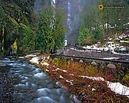 Multnomah Falls in the Columbia River Gorge Natural Scenic Area in Multnomah County Oregon