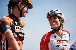 Karol-Ann Canuel (CAN) chats to Chantal Blaak (NED) on the podium at GP de Plouay - Lorient Agglomération Trophée WNT, a 128 km road race in Plouay, France on August 31, 2019. Photo by Sean Robinson/velofocus.com