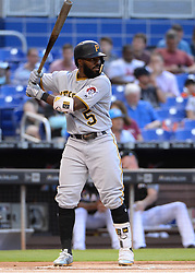 April 18, 2018 - Miami, FL, U.S. - MIAMI, FL - APRIL 13: Pittsburgh Pirates second baseman Josh Harrison (5) at bat during the first inning of the Major League Baseball game between the Miami Marlins and the Pittsburgh Pirates on April 13, 2018  at Marlins Park in Miami, FL  (Photo by Juan Salas/Icon Sportswire) (Credit Image: © Juan Salas/Icon SMI via ZUMA Press)