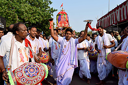 April 4, 2017 - Bhubaneswar, India - Devotees throng around the chariot of Lord Lingaraj on the occassion of Ashokastami festival in the eastern Indian city Bhubaneswar, India, Tuesday, April.4, 2017. (Credit Image: © Str/NurPhoto via ZUMA Press)